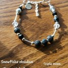 Snowflake obsidian diffusers bracelet  triple crescent moon