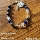 Blue goldstone diffusers bracelet triple crescent moon