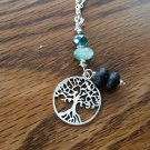 Green flourite diffusers necklace  Tree of life