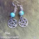 Blue crazy lace pentacle earrings