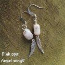 Pink opal angel Wong earrings