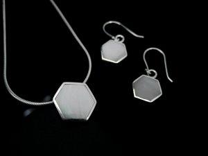 Sterling Silver Hexagon Pendant & Earrings
