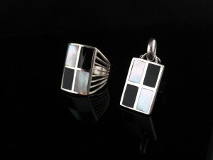 Sterling Silver & MOP Pendant & Ring