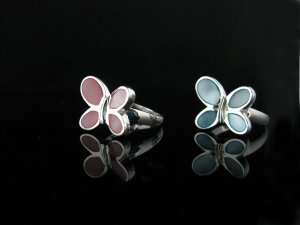 Butterfly MOP Sterling Silver Ring in Pink