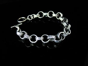Sterling Silver Filigree Links Toggle Bracelet