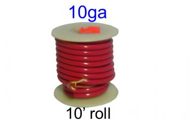8101, Del City, Primary Wire, Thrifty Spool, Red 10 Ga, 10-ft [L]