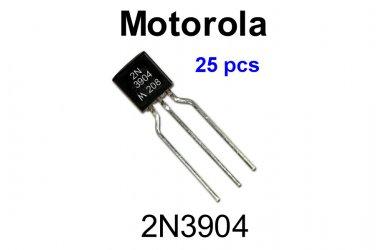 2N3904, Motorola, General Purpose NPN Transistor, 200mA, 40VDC [25 pcs] [O]