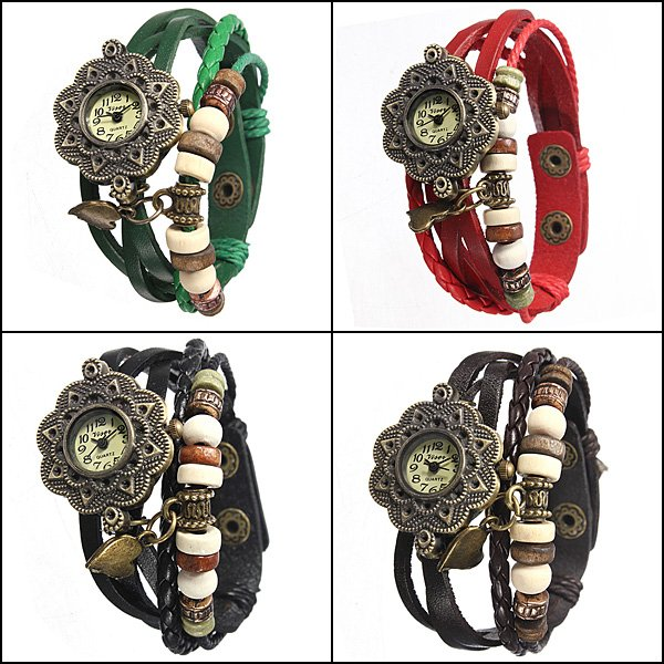 Women's Quartz Leather Bracelet Bangle Wrist Watch