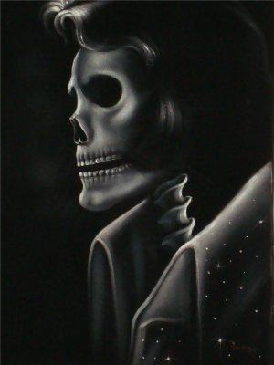 X -RAY ELVIS PRESLEY The king black velvet oil painting, Skull Elvis painting