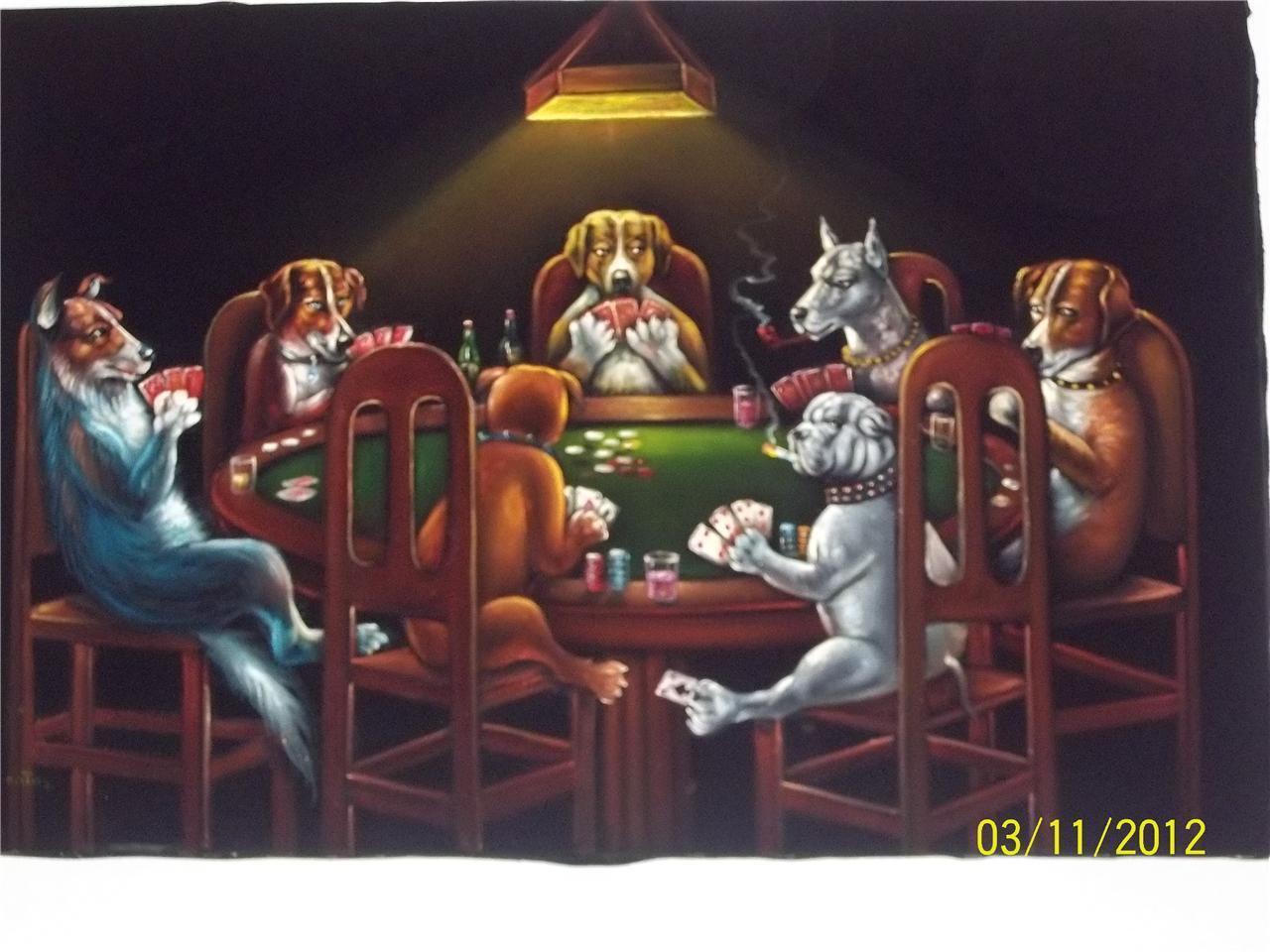 Velvet Picture Dogs Playing Poker