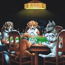 DOGS PLAYING POKER BLACK VELVET OIL PAINTING, 18 BY 24 INCHES, 100% handpainted