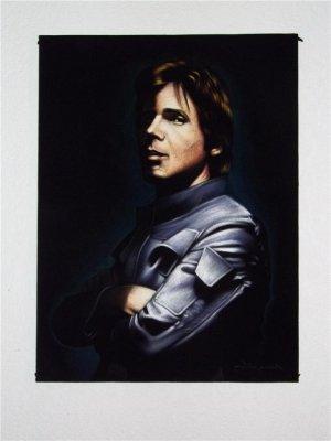 Star wars Han Solo Corellian smuggler black velvet oil painting,18 by 24 inches, 100% handpainted
