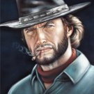 Bad ass Clint Eastwood black velvet oil painting, 18 by 25 inches, 100% handpainted.
