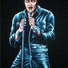 Young Elvis Presley black velvet oil painting