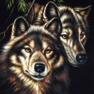 Wolf black velvet oil painting