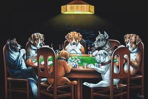 DOGS PLAYING POKER BLACK VELVET OIL PAINTING, 24 BY 36 INCHES, original handpainted art