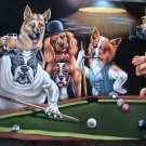 DOGS PLAYING POOL BLACK VELVET OIL PAINTING,100% HANDPAINTED 24 BY 36 INCHES