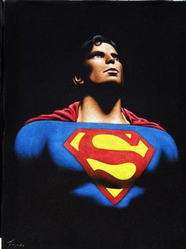 Superman the man of steel black velvet oil painting, 100% handpainted