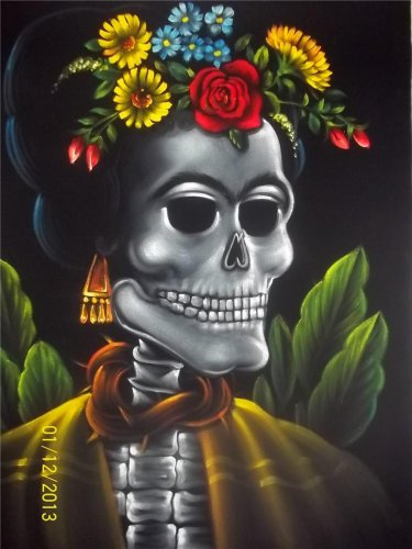 Frida Kahlo inmortality black velvet oil painting. 18 by 24 inches