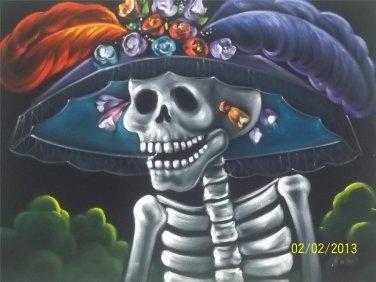 La catrina black velvet oil painting. 18 by 24 inches