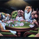DOGS PLAYING POKER BLACK VELVET OIL PAINTING,100% HANDPAINTED 24 BY 36 INCHES