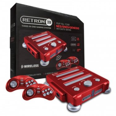 HYPERKIN RETRON 3-IN-1 NES SNES GENESIS SYSTEM RED CONSOLE NEW