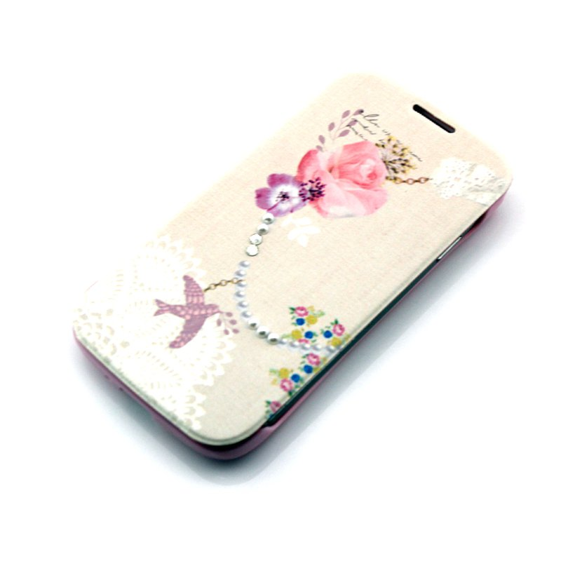 Flower Cute 3D Pattern Folio PU Leather Case with Cover for Samsung Galaxy s4 i9500