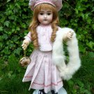 Antique Old German Bisque Head Brown Eyed Beauty Doll w/ Impish Grin