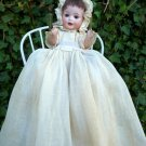Lovely Old Antique German Bisque Head Baby Doll w/ Antique Wooden High Chair