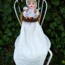 Old Antique German AM Bisque Baby Doll w/ Antique High Chair & Christening Gown