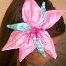 Disney Little Mermaid Costume Handmade Girl Beaded Rhinestone Pink Satin Flower Hair Clip