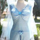 The Blue Fairy Pinocchio Costume Womans sizes Small Medium and Large Blue sequin dress