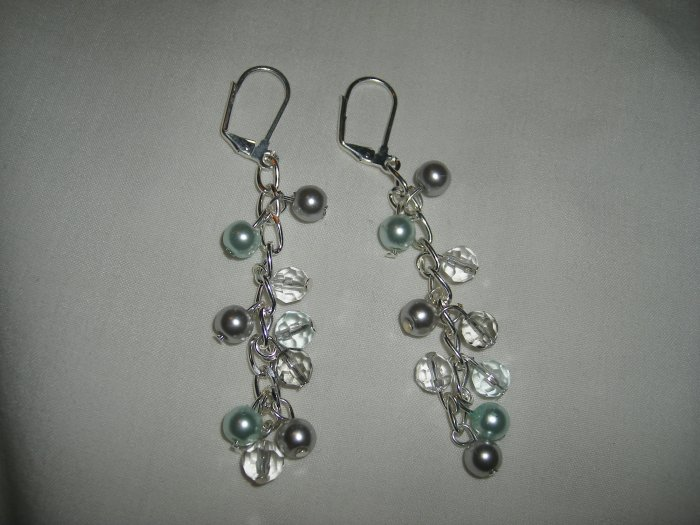 Silver, Pearl, and Crystal Bead  Dangling Earrings