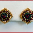 Vintage Garnet Colored Rhinestone Clip Earrings Signed Art