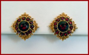 Vintage Garnet Colored Rhinestone Clip Earrings Signed Art
