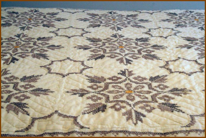 Hand-Made Cross Stitched Quilt Queen 80 by 90