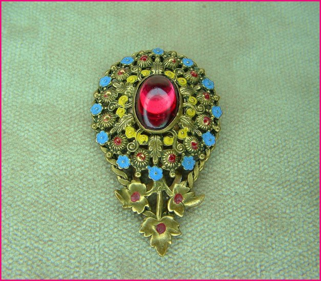 Antique Enameled Brass Fur Clip With Glass Cabochon