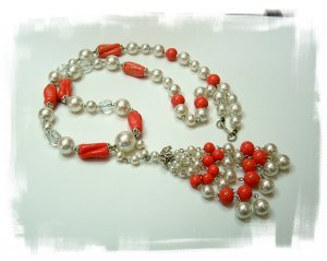 Art Glass and Faux Pearl Bead Lariat Necklace Signed Hobe