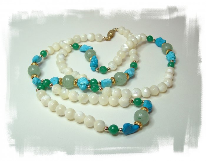 Mother of Pearl, Jade and Turquoise Bead Necklace