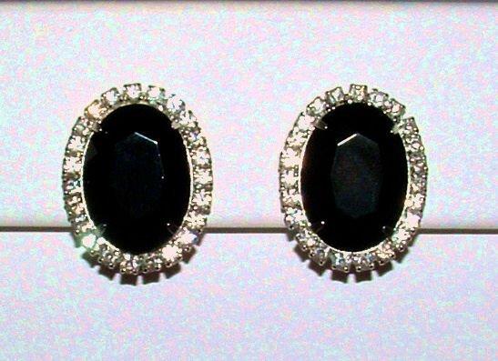 Vintage Black Glass and Crystal Rhinestone Clip Earrings