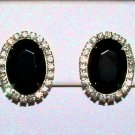 Vintage Black Glass and Crystal Rhinestone Clip Earrings