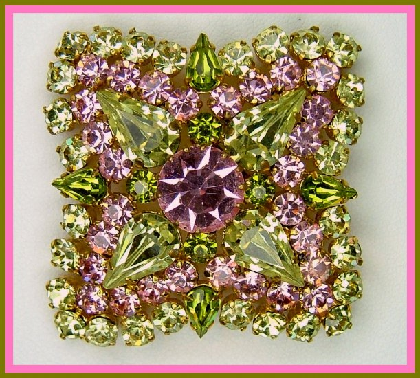 Gorgeous Pink, Yellow and Green Rhinestone Brooch