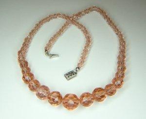 Vintage Pink Crystal Necklace 1920's