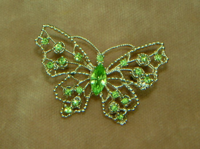 """SOLD"" Peridot Rhinestone Butterfly Brooch and Earrings Signed Dodds"