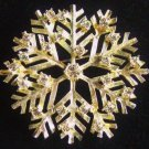 Vintage Rhinestone Snowflake Brooch Signed Eisenburg