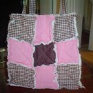 Pink and Brown Gingham Rag Tote