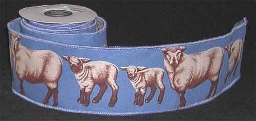 Craft Wired Edge Ribbon with SHEEP
