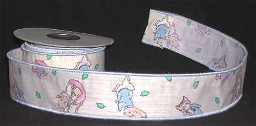 Craft Wired Edge Ribbon with RABBITs CATs MOUSE