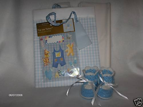 Hand Crocheted Blue Baby Booties and Gift Bag