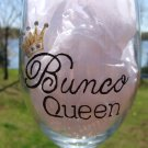Bunco Queen Hand Painted Wine Glass